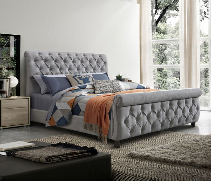 4'6  Morgan  Grey Bedframe