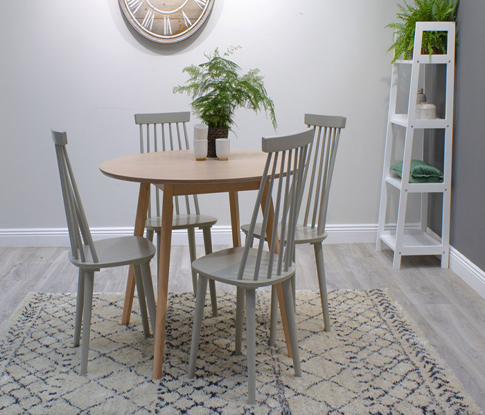 Isla Dining Set: Isla Round  Beech Dining Table & Isla Spindle Dining Chairs