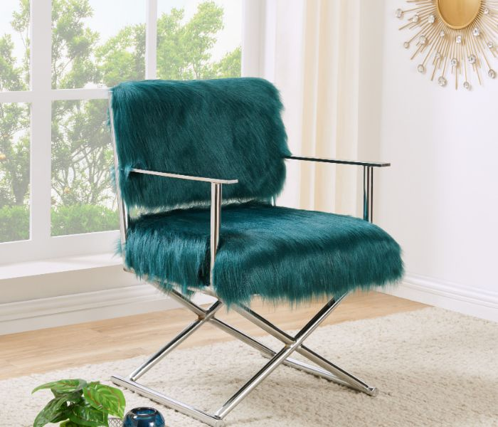 Faux Sheepskin Directors Chair-Green