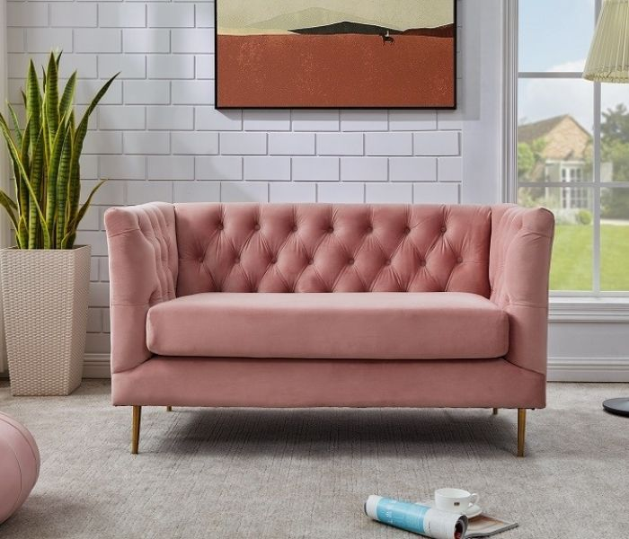 Belle Pink 2 Seater Sofa