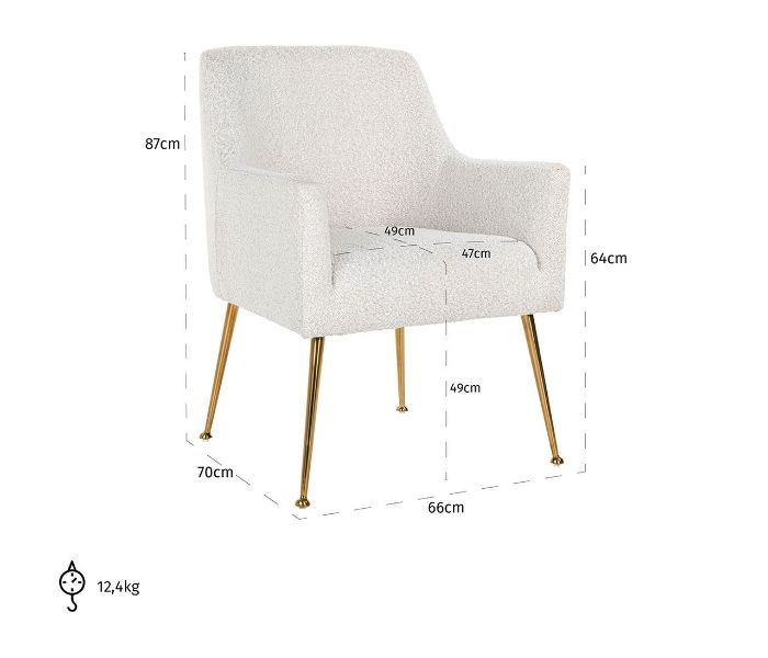 Harper White Boucle Dining Chair