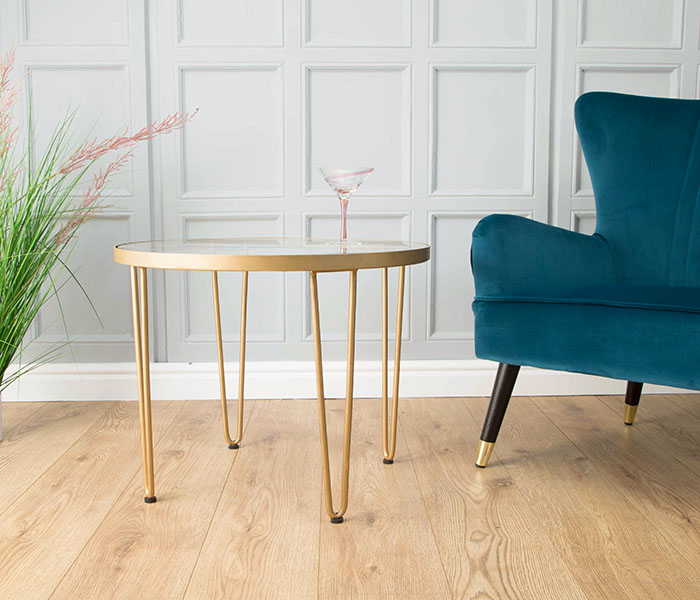 Gatsby Hairpin Side Table with Glass Top