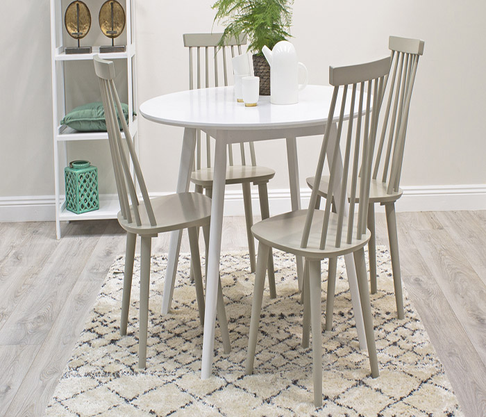 Isla Dining Set: Isla Round White Dining Table & Isla Spindle Grey Dining Chairs
