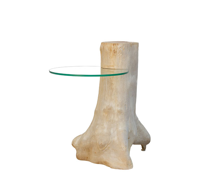 Natural Teak Wood Stand with Glass Shelf