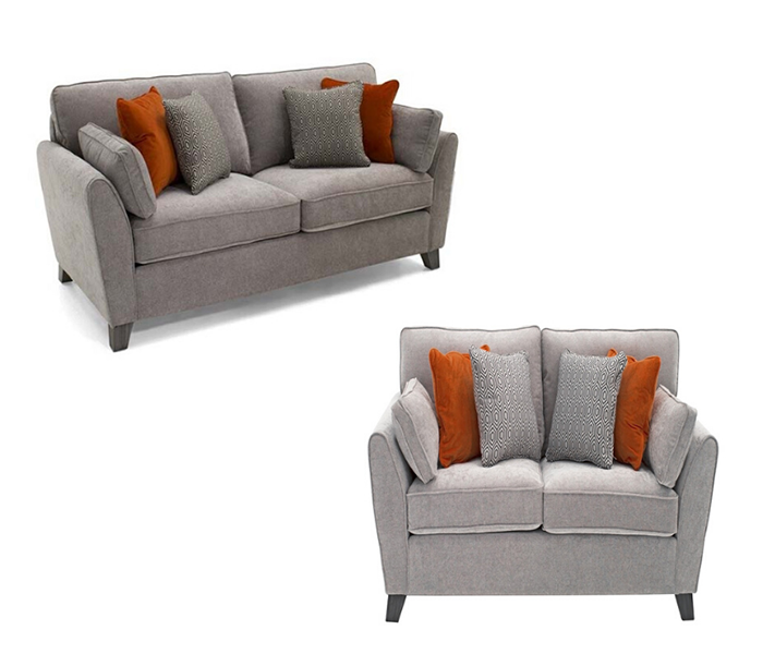 Cantrell 3+ 2 Silver Seater Sofa