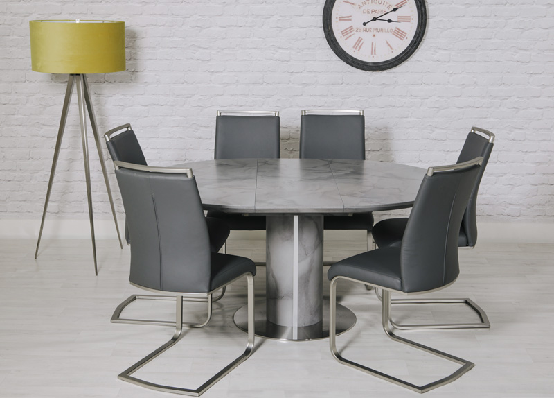 Vancouver Round Extending Dining Table 1200 1600 Mm