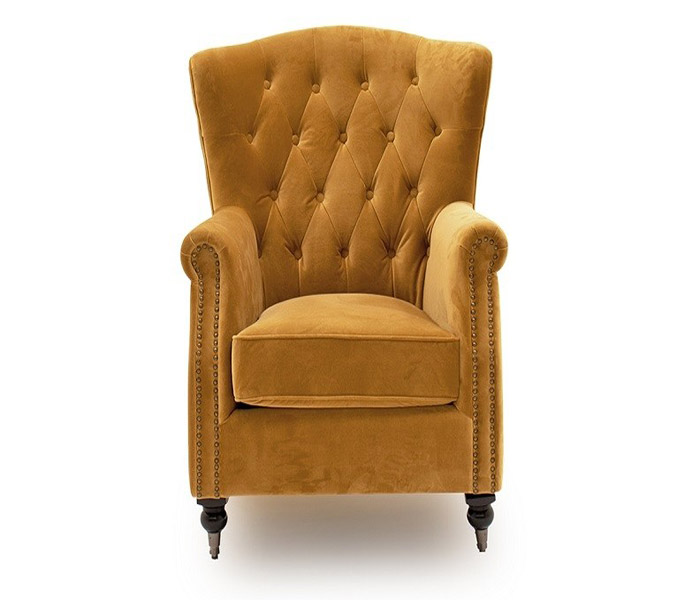 Darby Wingback Chair-Mustard