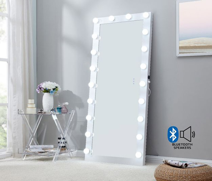 Hollywood Floor Mirror with Bluetooth Speaker