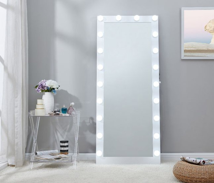 Hollywood Floor Mirror-White