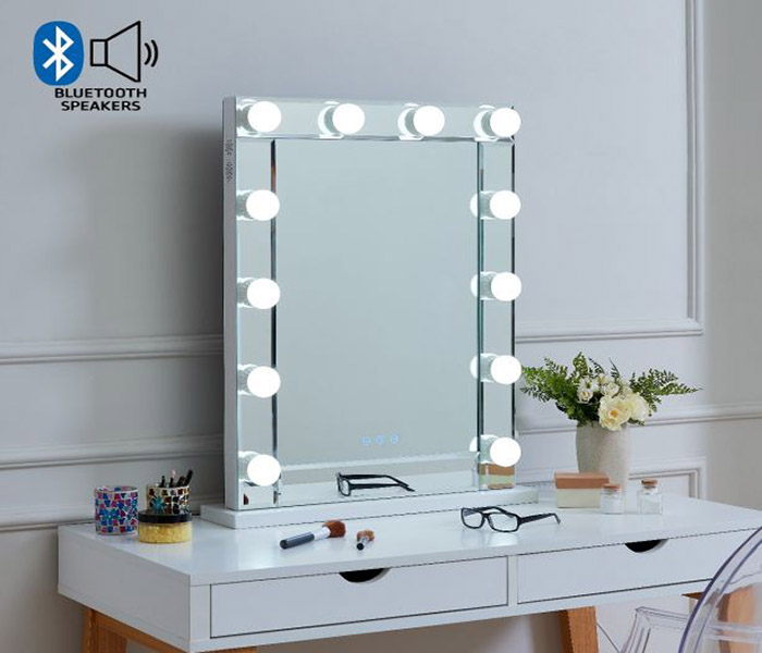 Desktop Hollywood Mirror With Bluetooth Speaker