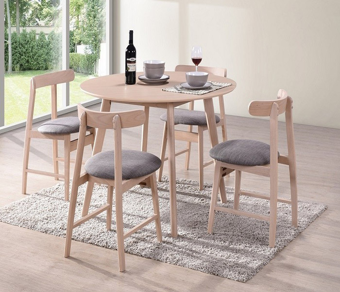 Isla Dining Set: Isla Round Beech Dining Table & Isla Curved Dining Chairs