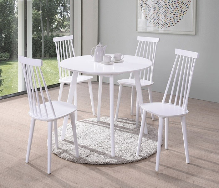 Isla Dining Set: Isla Round White Dining Table & Isla Spindle Dining Chairs
